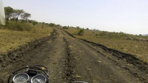The newly graded 4.5km road - next step: to add raised, packed morrum